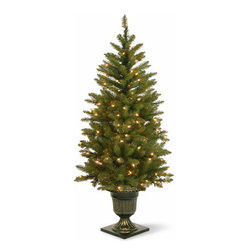 4 1/2 Ft. Dunhill Fir Entrance Christmas Tree w/ 100 Warm White LEDs - Measures 4.5 feet tall with 27 inch diameter. Indoor or outdoor use. Pre-lit with 100 UL listed, pre-strung Warm White Low-Voltage LED lights. LED lights are energy-efficient and long lasting. Decorative urn base. Tip count: 311. Light string features BULB-LOCK to keep bulbs from falling out.  Fire-resistant and non-allergenic. Packed in reusable storage carton.
