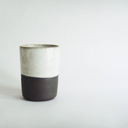 White and Dark Brown Tumbler by Julia Paul Pottery - These ceramic cups are perfect for tea or cocoa and will remind the recipient of winter's simple pleasures.
