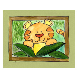 Oh How Cute Kids by Serena Bowman - Here's Looking at You - Tiger, Ready To Hang Canvas Kid's Wall Decor, 24 X 30 - Who's looking at you?  Mr. Tiger, that's who!