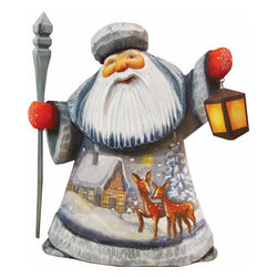 "Artistic Wood Carved Kind Deer Santa Claus Sculpture - Measures 6""H x 3.5""L x 3.5""W and weighs 1 lb. G. DeBrekht fine art traditional, vintage style sculpted figures are delightful and imaginative. Each figurine is artistically hand painted with detailed scenes including classic Christmas art, winter wonderlands and the true meaning of Christmas, nativity art. In the spirit of giving G. DeBrekht holiday decor makes beautiful collectible Christmas and holiday gifts to share with loved ones. Every G. DeBrekht holiday decoration is an original work of art sure to be cherished as a family tradition and treasured by future generations. Some items may have slight variations of the decoration on the decor due to the hand painted nature of the product. Decorating your home for Christmas is a special time for families. With G. DeBrekht holiday home decor and decorations you can choose your style and create a true holiday gallery of art for your family to enjoy. All Masterpiece and Signature Masterpiece woodcarvings are individually hand numbered. The old world classic art details on the freehand painted sculptures include animals, nature, winter scenes, Santa Claus, nativity and more inspired by an old Russian art technique using painting mediums of watercolor, acrylic and oil combinations in the G. Debrekht unique painting style. Linden wood, which is light in color is used to carve these masterpieces. The wood varies slightly in color."