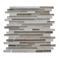 Century Glass - Century Stone Glass Random Mix Mosaics, Loft Clay, 8 Cartons - Century Glass combines clear and frosted glass with real stone. Perfect for the kitchen backsplash or as a decorative accent anywhere in the home.