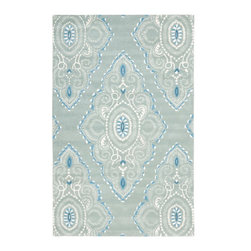 Safavieh - Santo Hand Tufted Rug, Blue / Ivory 6' X 9' - Construction Method: Hand Tufted. Country of Origin: India. Care Instructions: Vacuum Regularly To Prevent Dust And Crumbs From Settling Into The Roots Of The Fibers. Avoid Direct And Continuous Exposure To Sunlight. Use Rug Protectors Under The Legs Of Heavy Furniture To Avoid Flattening Piles. Do Not Pull Loose Ends; Clip Them With Scissors To Remove. Turn Carpet Occasionally To Equalize Wear. Remove Spills Immediately. Safavieh's artistry is vividly displayed in the Wyndham collection with designs ranging from contemporary florals to traditional global motifs. Each richly-hued rug is hand-tufted by master weavers in India of top quality wool. Several designs recreate the one-of-a-kind look of fashionable over-dyed antique rugs using a special multi-colored yarn that is meticulously colored using ages-old pot dyeing techniques. After the dye is carefully applied to each strand of wool, touches of organic viscose are added for soft silky luster as special highlights accents.