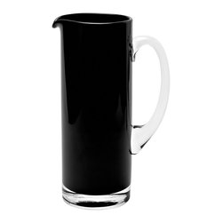 Basis Pitcher, Black - The simple and contemporary style of this black glass pitcher remains an all year round favorite. Its mouth blown opening offers round edges for a softer look and easy pouring.Designedby Monika Lubkowska-Jonas. Handmade in the EU.
