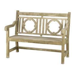 Currey & Company - Leagrave Small Bench - A classic English garden bench surprises all with its smoothly finished concrete construction. Its generous size adds to its presence.