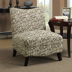 Monarch Swirl Fabric Accent Chair - Tan - A unique addition to your space, the Monarch Swirl Fabric Accent Chair - Tan features a straight plush back, spacious seat, and slightly tapered and flared legs. It has a lower profile for comfortable lounging and beautiful tan and dark brown swirl fabric upholstery. About Monarch InternationalMonarch International Inc. is a leader in home style products manufactured from metal, and combinations of wood and glass. Their roots lie in manufacturing metal badges and buttons for the Indian Army. From there, they evolved and diversified into other products and Monarch started selling hand-crafted goods and lifestyle accessories in the United States and other global markets. Their corporate policy is based on the principles of partnership, trust, service and an unwavering commitment to quality products.