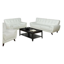 Monarch Specialties - Monarch Specialties 8803WH 2-Piece Living Room Set in White Leather - This modern white bonded leather sofa will make a wonderful addition to your living room. Its contemporary shape enhances any room with its plush back, box seat cushions and slightly angled lines. The stitching and button tufted design enhances the look of this sofa, while still offering you ample room. The chic design creates an inviting feel, and solid feet provide sturdy support this piece. It is also a perfect match with the chair and love seat.