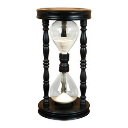 Aspire - Black Sand Timer/Hourglass - This vintage wood time piece will add a rustic touch to your decor. The hour glass features a traditional design with white sand. The frame of the hour glass is stained black. Wood and glass. Color/Finish: Black. 23 in. H x 12 in. W x 12 in. D. Weight: 14 lbs.