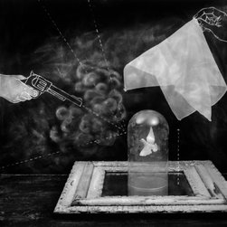 The Smoking Gun - Original Fine Art Photography - This limited edition photograph depicts a popular magic trick: a magician wipes the inside of a dome with ammonia and places it on a piece of glass with a drop of hydrochloric acid. Once the two chemicals meet, they form smoke. The magician then shoots a blank out of a gun at the dome, removes the handkerchief and smoke appears inside.
