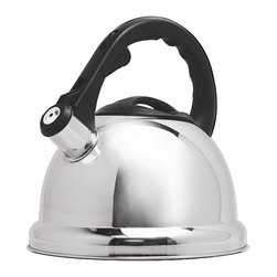 EPOCA - Safe-T 3 Qt. Stainless Steel Whistling Kettle - Polished Stainless Steel - The Safe-T Whistling Tea Kettle is constructed out of quality stainless steel and holds up to 3 quarts of liquid. The large, comfortable stay-cool handle is angled away from the steam and features an easy trigger-release that opens the spout, and finger ridges that make for safe one-handed pouring. The oversized Safe-T base covers the flames from your stove, and the encapsulated bottom provides increased durability and allows for quick heating. This kettle has a whistling spout that notifies you when the water is boiling, and the wide mouthed lid removes for easy filling and cleaning. Safe-T Whistling Tea Kettles are available in red, blue, purple, and polished stainless steel, making them a great kitchen accent to suit any decor.