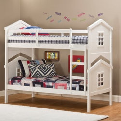 Hillsdale House Twin over Twin Bunk Bed - White - Give your little ones a room to ignite their imagination with the Hillsdale House Twin over Twin Bunk Bed - White. The charming look of the house-inspired head- and footboards make this a bed that feels like a clubhouse. The clean white finish provides a welcome look, beautifully coordinating with their other decor. Guard rails and an easy-to-climb ladder provide safety, so Mom and Dad will love this bed as much as they do. No box spring is needed. Assembly required.About Hillsdale FurnitureLocated in Louisville, Ky., Hillsdale Furniture is a leader in top-quality, affordable bedroom furniture. Since 1994, Hillsdale has combined the talents of nationally recognized designers and globally accredited factories to bring you furniture styling and design from around the globe. Hillsdale combines the best in finishes, materials, and designs to bring both beauty and value with every piece. The combination of top-quality metal, wood, stone, and leather has given Hillsdale the reputation for leading-edge styling and concepts.