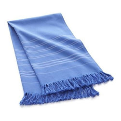 Blue Turkish Guest Towel - The indulgence of luxe Turkish cotton toweling, made affordable. Guest towels in three colors with a beautiful finish echo the theme with smaller stripes and traditional fringe. Add our Hammam bowl to recreate a traditional Turkish bath at home.