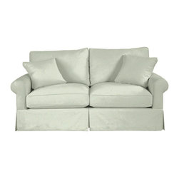 Ballard Designs - Suzanne Kasler Signature 13oz Linen Baldwin Apartment Sofa Slipcover - Coordinates with Suzanne's linen panels, tablecloths & pillows. Removes easily for cleaning or a fresh change of seasonal color. Dry clean. Imported. Suzanne's best-selling line of luxurious linens now include slipcovers designed exclusively to fit our ultra-comfy Baldwin Apartment Sofa. Hand finished with strong, over-locking seams and custom fitted to prevent shifting and bunching. A Baldwin Slipcover is necessary when ordering any Baldwin frame.Suzanne Kasler Baldwin Apartment Sofa Slipcover features: . . . .