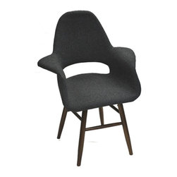 Fine Mod Imports - Mid Century Style Dining Chair in Gray Fabric - This dining chair is a upholstered molded plywood seating shell atop four legs and its a reproduction of a well known modern design dining chair.