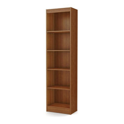 South Shore - 5-Shelf Narrow Bookcase in Morgan Cherry - Accessories not included. Contemporary style with sleek lines. Narrow configuration helped to placed in tight spaces. Five open and accessible storage spaces, separated by one fixed shelf and three adjustable shelves. Laminated particle board. Warranty: Five years. Made in Mexico. Assembly required. 19 in. W x 11.5 in. D x 71.25 in. H (49 lbs.). Assembly InstructionsThis Axess bookcase is ideal for your binders, books or decorative items. Its refined lines harmonize seamlessly with virtually any decor. This bookcase is sure to enhance the look of any room in your home. Designed to maximize storage in all the rooms of your home