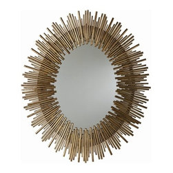 Arteriors - Arteriors Prescott Gold Iron Oval Mirror - Large-scale oval wall mirror features a sunburst pattern with a rim of thin textured iron reeds in multiple lengths in an antiqued gold leaf finish.