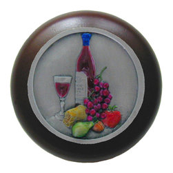 Wine Enthusiasts - Hand Painted Best Cellar Walnut Wood Knob in Antique Pewter