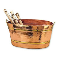 """Old Dutch - 22.5 x 13.25 x 11.25 Oval Decor Copper Party Tub 11-Gallon - 11-Gallon Oval Decor Copper Party Tub. Serve beverages at your next event or party in style! The large oval tub is perfect for filling with ice and serving cold bottled or canned drinks. Hammered Copper finish with Brass banding and handles lends an element of class to any event. 22""""L x 11""""H."""