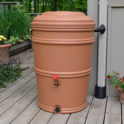 The Rain Barrel Company - Rain Barrel Rain Station - RBD RS 45 TC - Shop for Watering Equipment from Hayneedle.com! Don't let that rainwater go to waste! The Rain Barrel Rain Station will catch rainwater from your downspout and save it for a drier day. The included patented Flexi-Fit connector attaches directly to your downspout -- eliminating the need to cut directly into your gutter -- and diverts water into the barrel. After the rain use your stored rainwater for the garden or the lawn. Two spigots make it easy to fill a watering can or connect a soaker hose. The barrel's locking lid prevents animal and child entry while the fully-enclosed system prevents mosquito infestation.About EarthMindedEarthMinded consumer products are simple attractive and high-quality solutions for a variety of home garden and agricultural uses of rain. Rainwater is ideal for watering plants and gardens and for outdoor chores such as washing cars decks or lawn furniture. In addition to saving your water supply for when you need it using rainwater helps reduce runoff and shows a commitment to a greener lifestyle.