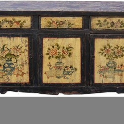Vintage Rustic Black Cream Flower Vase Buffet Sideboard - This is a decorative flower graphic Chinese Mongolian style low table with compartment and 3 drawers for storage. Its old vintage accent enriches the interesting tone to the room.