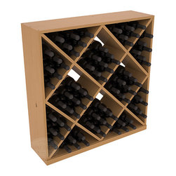 Solid Diamond Wine Storage Cube in Pine with Oak Stain + Satin Finish - Elegant diamond bin style bottle openings make for simple loading of your favorite wines. This solid wooden wine cube is a perfect alternative to column-style racking kits. Double your storage capacity with back-to-back units without requiring more access area. We build this rack to our industry leading standards and your satisfaction is guaranteed.