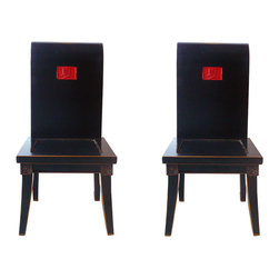 "Golden Lotus - Pair Chinese Black Lacquer Red ""Summer"" Chairs - This is a modernized chair with smooth black lacquer surface. The seat back is in scroll shape and a red ""summer"" Chinese character is in the center.  It is a nice piece for home decoration."