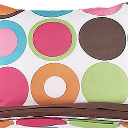 Sweet Jojo Designs - Deco Dot Pillow Sham - The Deco Dot standard pillow sham is created exclusively to coordinate with the Sweet Jojo Designs matching bedding set. This pillow sham is a quick and easy way to complete the look and theme in your child's bedroom. Machine washable. Fits all standard sized pillows. Dimensions: 20in. x 26in.