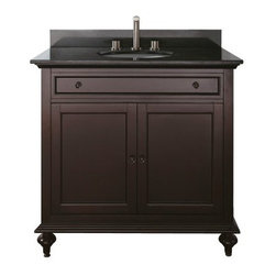 Avanity Merlot 36-in. Single Bathroom Vanity with Optional Mirror - The Avanity Merlot 36-in. Single Bathroom Vanity with Optional Mirror is the sort of vanity Goldilocks might choose: not too big, not too small – just right. The compact cabinet frame is made from solid birch and given a dark espresso finish to emphasize the wood; cabinet also features an interior shelf found behind two soft-close drawers (with black brass hardware). The countertop is fitted for a single faucet (not included) and under-mounted sink, and is available in your choice of stone: beige marble, black granite, or white marble. Adjustable height levelers are included for uneven floors. This piece comes with the option of a 24- or 30-inch mirror (Dimensions: 24W x 2.2D x 33H inches; 30W x 2.3D x 33H inches respectively) with matching birch-and-espresso finish, or no mirror at all.About Avanity CorporationAvanity's goal has always been to provide the public with the best products possible at the fairest prices. To this end, their customer service style is about listening to their customer, not just hearing them. Avanity is confident in their products, ensuring each of them has a one-year manufacturer's warranty. Avanity also takes note of increasing market trends to stay ahead of the game and provide the most cutting-edge products available.