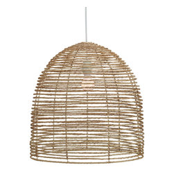 Selamat Designs - Vineyard Lighting Collection, Beehive Chandelier Natural - Our casual take on a formal chandelier, we use natural strands of jute twisted and wrapped around a collapsible three tier metal frame. Comes with a UL approved socket and soft cord single bulb pendant kit.