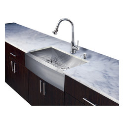 Vigo Industries - 33 in. Stainless Steel Sink and Faucet Set - Includes apron front kitchen sink, faucet, soap dispenser, matching bottom grid, sink strainer, all mounting hardware and hot-cold waterlines.