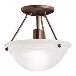 "BUILDER - BUILDER 3121TZ Cove Molding Top Glass Transitional Semi-Flush Mount Ceiling Ligh - Utilizing basic shapes and a simplistic design, the Family Spaces Pendant Collection provides fantastic lighting and classic style that goes with any décor. Our Tannery Bronze finish adds a beautiful, aged look of the Family Spaces fixture while the Satin-etched glass generates a soft and pure ambiance in your home. This semi-flush pendant employs a 1-light design that uses a 100-watt (max.) bulb to light this 10"" diameter fixture."