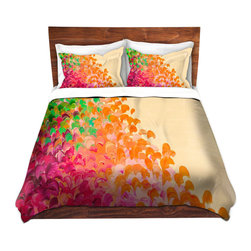 DiaNoche Designs - Duvet Cover Microfiber by Julia Di Sano - Creation in Color Autumn Infusion - DiaNoche Designs works with artists from around the world to bring unique, artistic products to decorate all aspects of your home.  Super lightweight and extremely soft Premium Microfiber Duvet Cover (only) in sizes Twin, Queen, King.  Shams NOT included.  This duvet is designed to wash upon arrival for maximum softness.   Each duvet starts by looming the fabric and cutting to the size ordered.  The Image is printed and your Duvet Cover is meticulously sewn together with ties in each corner and a hidden zip closure.  All in the USA!!  Poly microfiber top and underside.  Dye Sublimation printing permanently adheres the ink to the material for long life and durability.  Machine Washable cold with light detergent and dry on low.  Product may vary slightly from image.  Shams not included.