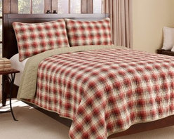 Eddie Bauer Ravena Plaid 3-Piece Cotton Reversible Quilt Set - Go classic and bold in the bedroom with the Eddie Bauer Ravena Plaid 3-Piece Cotton Reversible Quilt Set. This is the perfect set for someone looking for the enduring appeal of plaid in strong shades of red, brown, and tan. Set includes quilt with matching shams (one sham with twin size), and is completely machine-washable. So convenient! And if you want to switch up your style for the season, the quilt is fully reversible for two looks in one. Choose your size and you're all set!Bedding Dimensions:Twin: 88 x 68 in.Full/Queen: 90 x 90 in.King: 96 x 104 in.About Eddie BauerSince Eddie Bauer himself strung the first racket in Eddie Bauer's Tennis Shop in 1920, the company's work ethic has always been based on innovative design and exceptional customer service. Now a household name, Eddie Bauer is more than sports goods - it's premium-quality gear, accessories, and clothing designed to complement the lives of those who love outdoor pursuits. Eddie Bauer's home collection proves the company's rugged, athletic spirit can be just as rewarding indoors, too.