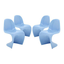 """LexMod - Slither Dining Side Chair Set of 4 in Blue - Slither Dining Side Chair Set of 4 in Blue - Sleek and sturdy, rock back and forth in comfort with this injection molded marvel. Constructed from a single piece of strong ABS plastic, the s shaped Slither chair can be found in many fashionable settings. Perfect for dining areas in need of a little zest, the design is versatile, fun and lively. Surprisingly cushy, choose from a selection of vibrant colors that wont fade over time. Slither is also perfect for spaces short on room. Set Includes: Four - Slither Dining Chair Tough ABS Construction, Stackable up to 4 High, Ergonomically Designed, Set of Four Chairs, No Assembly Required Overall Product Dimensions: 23""""L x 19""""W x 33""""H Seat Height: 18""""H - Mid Century Modern Furniture."""