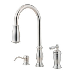 Price Pfister - Pfister GT526-TMS Hanover One Handle Pulldown Kitchen Faucet - Price Pfister GT526-TMS Hanover is a Hanover Series 3-Hole kitchen pull-down faucet with matching soap dispenser. Includes adjustable spray volume control.