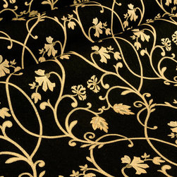Cravin Upholstery in Midnight - Cravin Discount Designer Upholstery Fabric in Midnight Black Floral Pattern. This Italian made fabric is perfect for upholstering sofas &  chairs and would make excellent accent pillows.  With a width of 54″ this 100% Spun Viscose fabric has a repeat of Vertical – 24.375 inches and Horizontal – 13.750 inches. Cleaning Code S-SOLVENT BASED CLEANER. Dry Clean Only.
