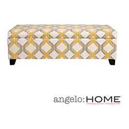 ANGELOHOME - angelo:HOME Kent Modern Deco Yellow-Taupe Tilework Storage Ottoman - The angelo:HOME Kent wall hugger storage ottoman was designed by Angelo Surmelis. The Kent bench storage ottoman is designed to fit up against a wall while still being able to open the lid easily.