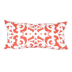 """kee design studio - Arabesco Lumbar Pillow, Persimmon - """"Arabesco"""", an original pattern by Kee Design Studios, is a modern take on a traditional scroll work motif. It is printed on a lovely cotton/linen blend fabric, has a knife-edge finish and an invisible zipper. It features a full and fluffy 10/90 white goose down insert."""