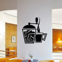 StickONmania - Coffee Grinder and Cup Sticker - A cool vinyl decal wall art decoration for your home Decorate your home with original vinyl decals made to order in our shop located in the USA. We only use the best equipment and materials to guarantee the everlasting quality of each vinyl sticker. Our original wall art design stickers are easy to apply on most flat surfaces, including slightly textured walls, windows, mirrors, or any smooth surface. Some wall decals may come in multiple pieces due to the size of the design, different sizes of most of our vinyl stickers are available, please message us for a quote. Interior wall decor stickers come with a MATTE finish that is easier to remove from painted surfaces but Exterior stickers for cars,  bathrooms and refrigerators come with a stickier GLOSSY finish that can also be used for exterior purposes. We DO NOT recommend using glossy finish stickers on walls. All of our Vinyl wall decals are removable but not re-positionable, simply peel and stick, no glue or chemicals needed. Our decals always come with instructions and if you order from Houzz we will always add a small thank you gift.