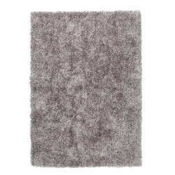 Jaipur Rugs - Gray /Black Solid Pattern Shag Rug - FL02, 7.6x9.6 - Personal expression reaches new heights with Flux, a beautiful range of plush, hand-woven shag rugs of 100% polyester. This chameleon is ideal for the contemporary design lover who enjoys mixing up his or her personal space often acting as a rich background to a diverse palette of furnishings and accessories. Highly textured shag construction brings comfort underfoot while a palette of fashion forward solid hues commands attention in any room.