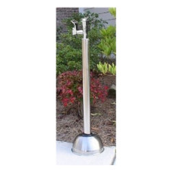 "Outdoor Shower Company - 36"" ADA Compliant Free Standing Stainless Steel Drinking Fountain with Metered P - Free Standing Stainless Steel 2"" OD Body, ADA Compliant Metered Push Button Drinking Fountain Bubbler - Height: 36"""