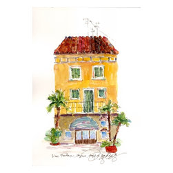 Via Fontana, Lazise, Lago Di Garda, Italy, Original, Painting - Plein air painting of a building in one of the towns that lie along lago di garda called lazise, with a shop downstairs and living above. it is one of my collection of paintings of italy, done while i was living in verona.