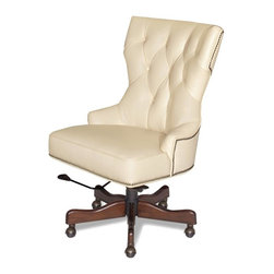 Hooker Furniture - Upholstered Desk Chair (Surreal Simone) - Fabric: Surreal SimoneUpholstered seat and back. Nailhead trims. Five brass casters. Seat: 24.5 in W x 18.5 in. D. Seat height: 19 in.. Seat to back height: 20 in.. Overall: 25.5 in. W x 31 in. D x 40 in. H. Assembly Instructions