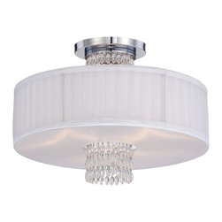 Designers Fountain - Designers Fountain Candence Transitional Semi Flush Mount Ceiling Light X-HC-119 - From the Candence Collection, this Designers Fountain semi flush mount ceiling light is an effortless blend of modern flair and classic styling. This transitional ceiling light features a drum shade with silver organza coloring and pleat detailing. White opal glass diffuses the light while a Chrome finish highlights the details. Hanging crystal accenting completes the look.