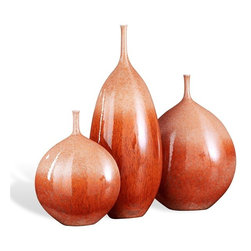 Interlude - Marmara Vases - Set of three porcelain vases in orange and antique cream finish.
