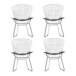 CAD Dining Chairs Set of 4 - The minimal nature of this CAD Wire Side Chair is an asset for any lover of modern furniture. A simple yet stylish design evoking the height of modern classic design. As comfortable as it is attractive, this is the sort of accent chair that starts conversations.