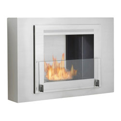 Eco-Feu - Wellington Wall Mounted Bio Ethanol Fireplace, Stainless Steel - Although the Wellington Wall Mount Fireplace is compact, it offers a modern and sophisticated look to any space. Offered in your choice of a matte black, glossy white with a stainless interior or entirely stainless steel, Wellington is certain to make an impact in any space. This fireplace offers an eco-friendly flame that is odorless. Bio Ethanol, an alternative fuel source produced from plants, only emits water vapor and carbon dioxide into the air, therefore no chimney or flue is needed. Although ethanol fireplaces aren't intended for use as a primary heat source, the Wellington model produces approximately 6,500 btu with the help of its stainless burner, which will change the noticeable temperature in a room of approximately 400 - 500 square feet. For aesthetic appeal and safety, this fireplace includes a pane of tempered glass that is situated in front of the flame. Appropriate for any living space, Wellington may be mounted on the wall using the included hardware or built into it with minor construction.