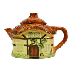 Lavish Shoestring - Consigned Thatched Cottage Shaped Teapot by Burlington Ware, Vintage English - This is a vintage one-of-a-kind item.