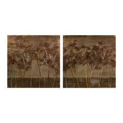 Warm Neutral Textured Trees Oils on Canvas - Set of 2 Morales - *The warm neutral strokes in the Morales Textured Trees oils on canvas add life and vitality to the autumnal wood scene. Set of 2.