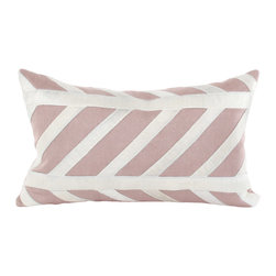 """V Rugs & Home - V Rugs & Home Nina Long Pillow - The Nina long pillow pairs a classic stripe pattern with rose linen to create a modern accessory. With appliqued cowhide on linen backing, this pillow beautifully enhances a sofa, chair or bed. 20""""W x 12""""H; Irish and Belgian linen; Feather/down insert included; Dry clean only; Made in the USA"""
