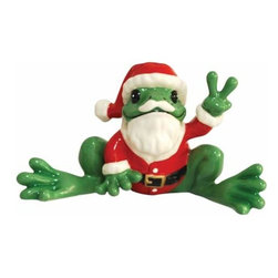 WL - Green Frog Figurine Wearing Santa Claus Outfit Holds Up Peace Sign - This gorgeous Green Frog Figurine Wearing Santa Claus Outfit Holds Up Peace Sign has the finest details and highest quality you will find anywhere! Green Frog Figurine Wearing Santa Claus Outfit Holds Up Peace Sign is truly remarkable.